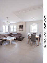 Luxury interior in beige color