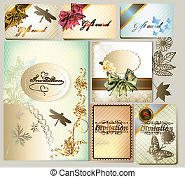 Luxury invitation and gift cards wi - Vector set of wedding ...