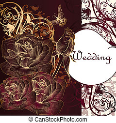 Luxury invitation card with roses - Elegant classic wedding...