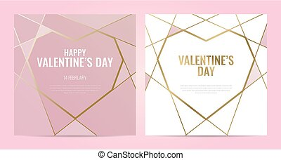 Luxury Invitation template with gold frame. Geometric shape.