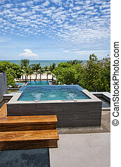 A private jacuzzi at a health spa resort in Hua Hin, Thailand.