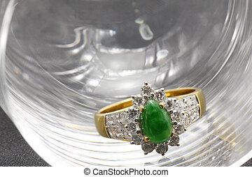 Jade Diamond Wedding Ring