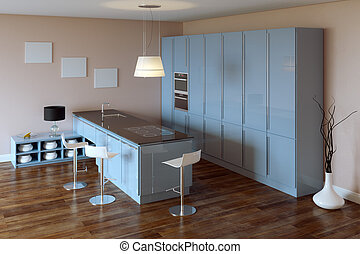 Luxury Kitchen Cabinet (Blue Furniture)