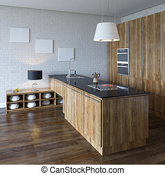 Luxury Kitchen Cabinet (Wooden Furniture) Perspective View
