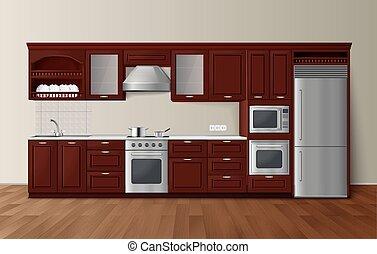 Luxury Kitchen Dark Realistic Interior Image - Modern luxury...