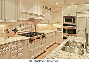Luxury kitchen - Modern luxury kitchen with marble...