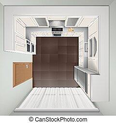 Luxury Kitchen Top View Realistic Image - Modern luxury...