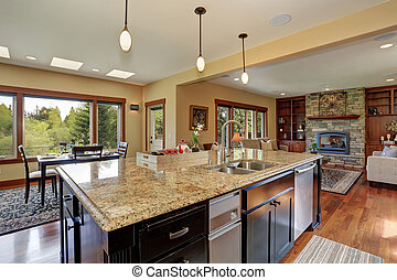 Luxury kitchen with bar style island.