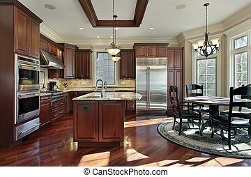Luxury kitchen with cherry wood cabinetry