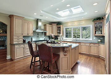 Luxury kitchen with oak wood cabinetry