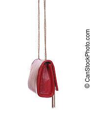 luxury leather female bag isolated on white