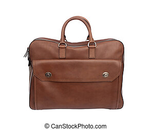 luxury leather handbag or briefcase isolated on white background