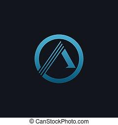 luxury letter A emblem logo. blue logo design concept template