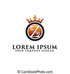 Luxury Letter Z with crown Logo design concept template