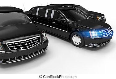 Luxury Limos Rental Concept Illustration. Three Black...