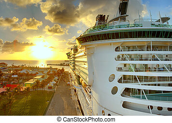 luxury liner in port in the bahamas, hdr image