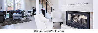 Interior of luxury living room with fireplace, panorama