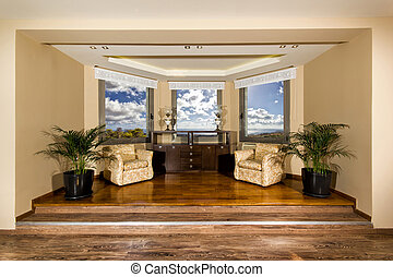 luxury living room with beautiful view