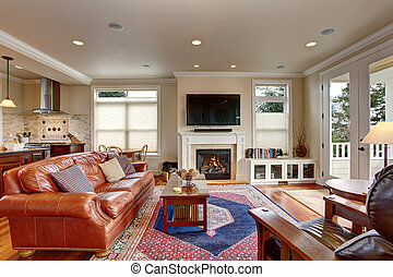 Luxury living room with red and blue rug.
