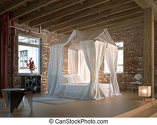 Luxury loft bedroom, with four poster bed. Wooden floor and...