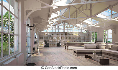 Luxury loft interiors, with old metal structure on ceiling...