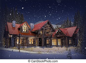 Luxury Log Home - Luxury Mountain Log Home with Red Roof in...