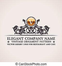 Luxury logo. Calligraphic pattern elegant decor elements. Vintage vector ornament