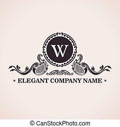 Luxury logo set. Calligraphic pattern elegant decor elements