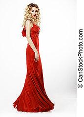 luxury., longitud completa, de, elegante, dama, en, rojo,...