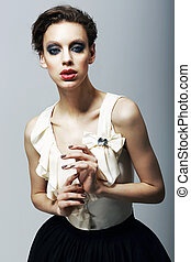 luxury., magnetism., 偏心, 時髦模型, 在, 時髦, dress., 字