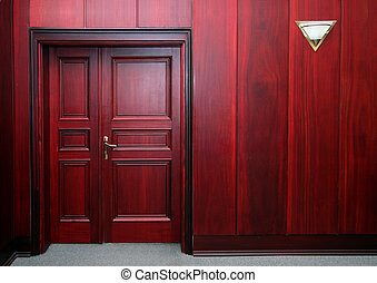 luxury mahogany interior with door
