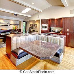 Luxury mahogany Kitchen with modern furniture.