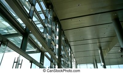 Luxury mall glass house, hall, Tower, overlooking, pots, ...