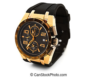 luxury man watch against white background