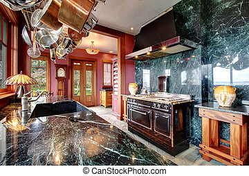 Luxury marble kitchen room with an antique style stove -...