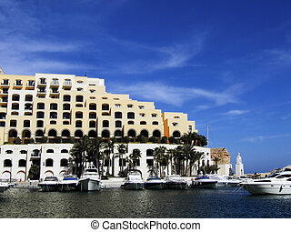 Modern marina and apartments in the Mediterranean island of Malta