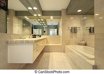 Luxury master bath with marble tiling