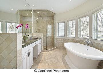 Luxury master bath with glass shower - Modern master bath in...
