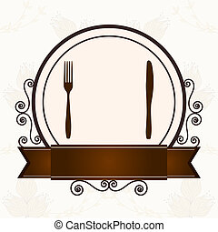 menu cover menu with cutlery vector illustration kitchen design