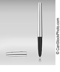 Luxury metallic ball pen. Vector illustration