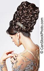 luxury., modelo, con, moderno, updo, -, trenzado, tress., moda, estilo