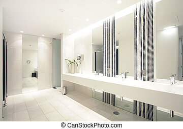 Luxury modern bathroom suite with bath and wc