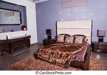 modern bedroom bed in dark colors