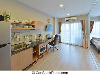 luxury modern kitchen area and decoration on condominium, interior design