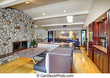 Luxury mohogany Kitchen with modern furniture and stone...