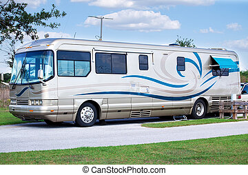 Luxury Motor Home - Beautiful, luxury motor home parked in a...