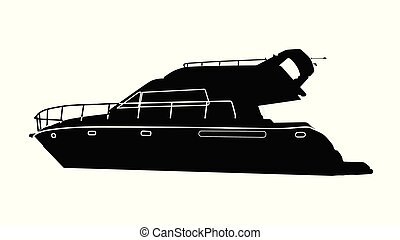 Luxury motorboat silhouette on white background