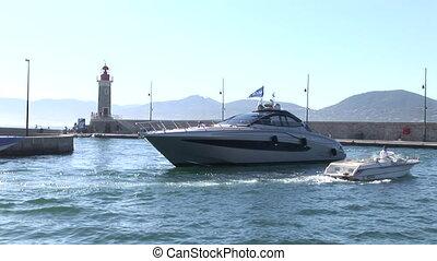 Luxury motoryacht in a port