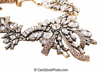 Luxury necklace, studio shot, isolated on white background