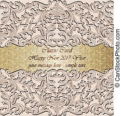 luxury new year gold mosaic card